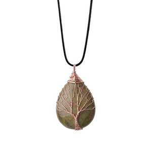 Jewelry - Vintage Tree of Life Wire Wrapped Copper Teardrop